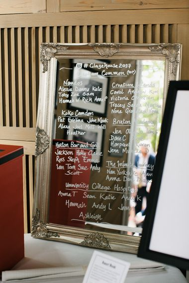 Mirror Table Plan | Bright Wedding at The Oyster Shed in London | Chris Barber Photography