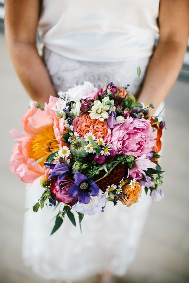 Bright Floral Bouquet | Bright Wedding at The Oyster Shed in London | Chris Barber Photography