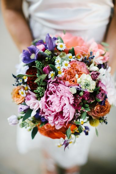 Bright Wedding Bouquet with Peonies | Bright Wedding at The Oyster Shed in London | Chris Barber Photography