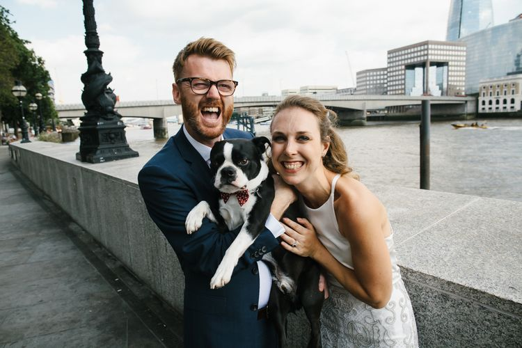 Bride, Groom & Pet Dog | Bright Wedding at The Oyster Shed in London | Chris Barber Photography