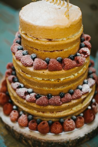 Naked Wedding Cake with Fruit | Bright Wedding at The Oyster Shed in London | Chris Barber Photography
