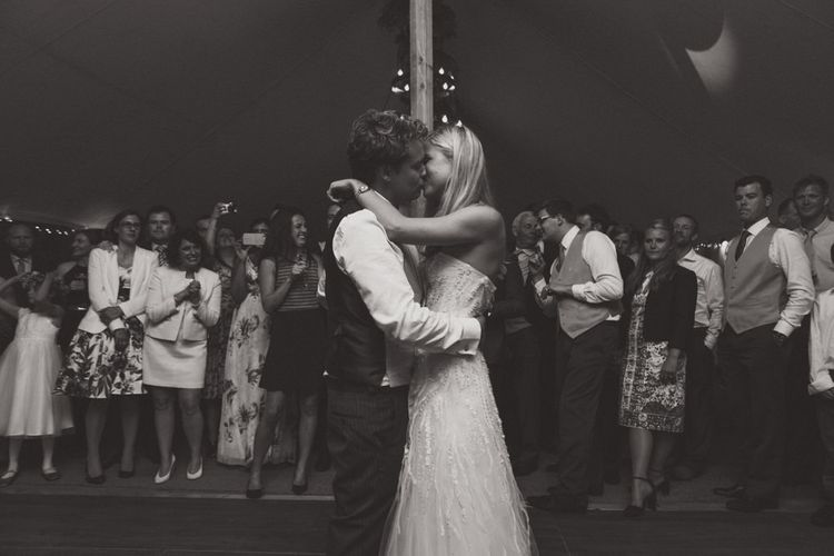 First Dance with Bride in Monique Lhuillier Candy Wedding Dress