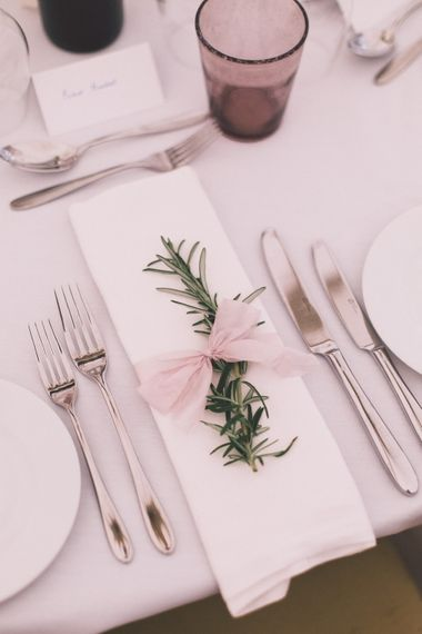 Place Setting With Foliage & Ribbon