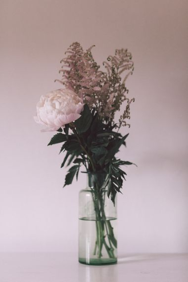 Blush Pink Wedding Flowers in a Vase