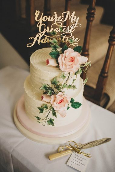 Elegant Wedding Cake with Laser Cut Cake Topper