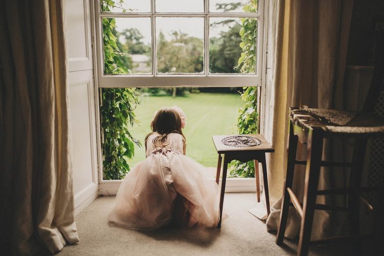 Flower Girl in Blush Tulle Skirt