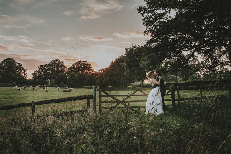 Romantic Field Bride & Groom Portrait
