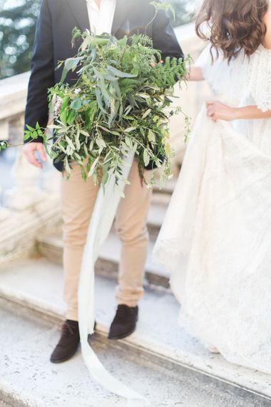 Olive Branch Bouquet by Nina E I Fiori | Romantic Engagement Shoot at Villa Borghese Gardens, Rome by The Wedding Stylist | Cecelina Photography