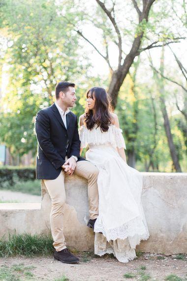Bride-to-be in Lace Katya Katya Shehurina Dress | Romantic Engagement Shoot at Villa Borghese Gardens, Rome by The Wedding Stylist | Cecelina Photography