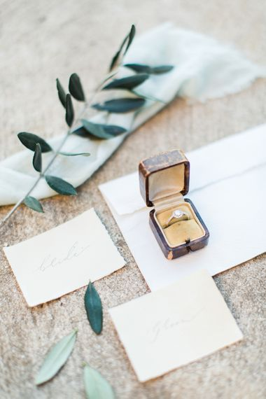 Beautifully Lost Studio Calligraphy | Engagement Ring | Romantic Engagement Shoot at Villa Borghese Gardens, Rome by The Wedding Stylist | Cecelina Photography