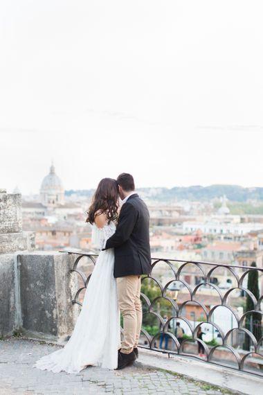 Bride-to-be in Katya Katya Shehurina Dress | Romantic Engagement Shoot at Villa Borghese Gardens, Rome by The Wedding Stylist | Cecelina Photography