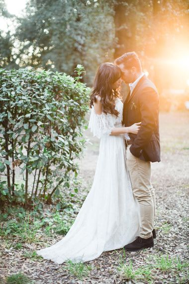 Golden Hour | Bride-to-be in Katya Katya Shehurina Dress | Romantic Engagement Shoot at Villa Borghese Gardens, Rome by The Wedding Stylist | Cecelina Photography
