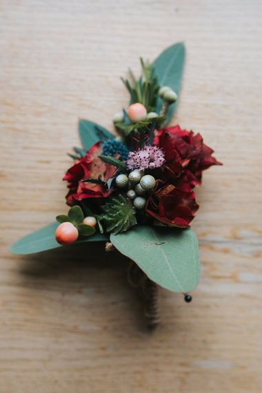 Deep Red & Green Autumnal Buttonhole