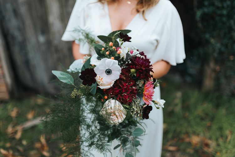 Autumnal Red & Green Bridal Bouquet