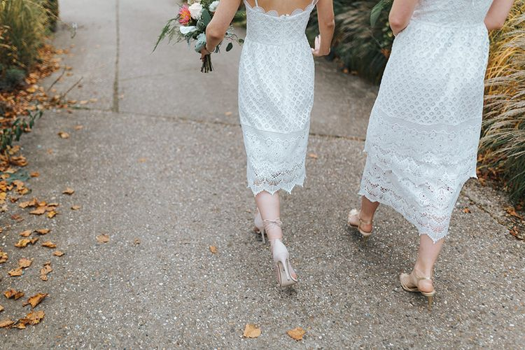 Bridesmaids in White Lace Warehouse Dresses