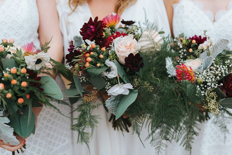 Red Flowers & Greenery Autumnal Bouquets