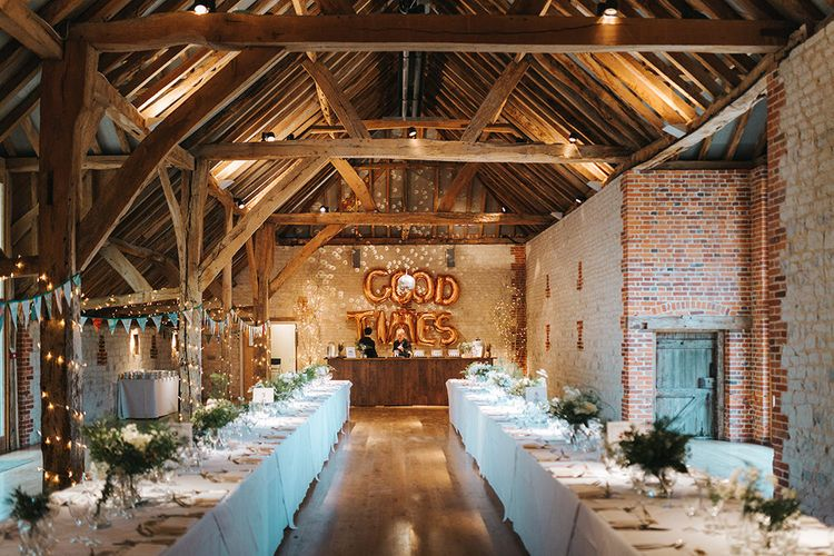 Rustic Barn Wedding Reception at The Barn at Bury Court in Surrey with Copper Foil Good Times Balloons