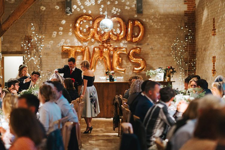 Rustic Barn Reception with Copper Foil Good Times Balloon Wedding Decor