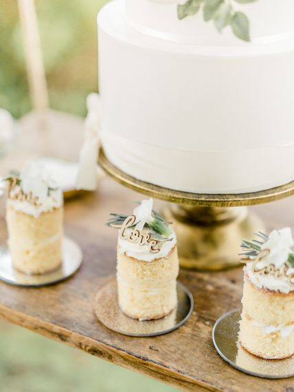 Miniature Bitesize Cakes with Love Toppers | Rivercatcher Intimate Wedding Inspiration | Jade Leung Wedding Design | Heledd Roberts Photography