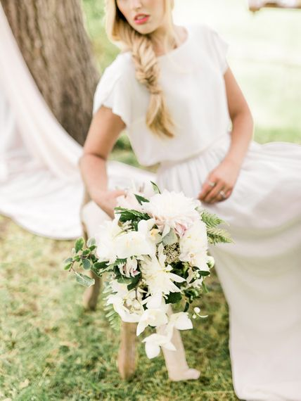 Romantic White & Blush Bouquet | Bride in Ailsa Munro Separates & Fishtail Braid | Rivercatcher Intimate Wedding Inspiration | Jade Leung Wedding Design | Heledd Roberts Photography