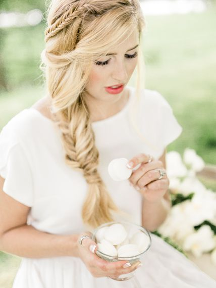 Bride in Ailsa Munro Separates & Fishtail Braid | Rivercatcher Intimate Wedding Inspiration | Jade Leung Wedding Design | Heledd Roberts Photography