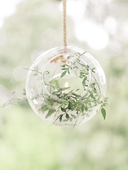 Hanging Votive with Greenery Decor | Rivercatcher Intimate Wedding Inspiration | Jade Leung Wedding Design | Heledd Roberts Photography