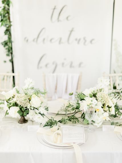 White & Greenery Decor | Elegant Tablescape | Rivercatcher Intimate Wedding Inspiration | Jade Leung Wedding Design | Heledd Roberts Photography