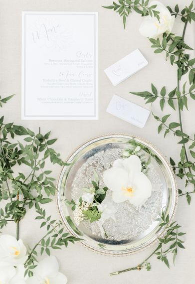 Elegant Stationery | Buttonhole | Rivercatcher Intimate Wedding Inspiration | Jade Leung Wedding Design | Heledd Roberts Photography