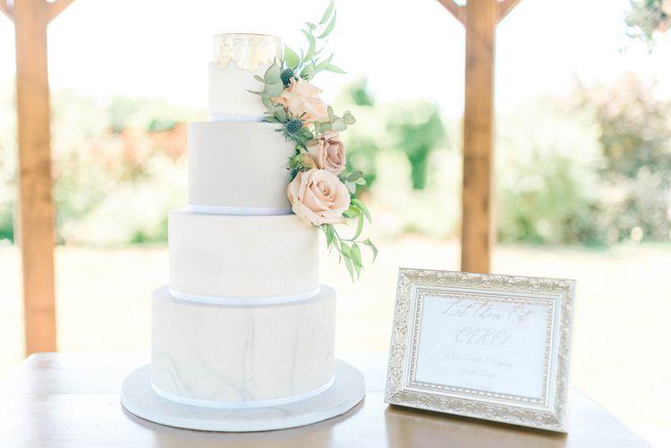 Elegant Wedding Cake With Fresh Roses