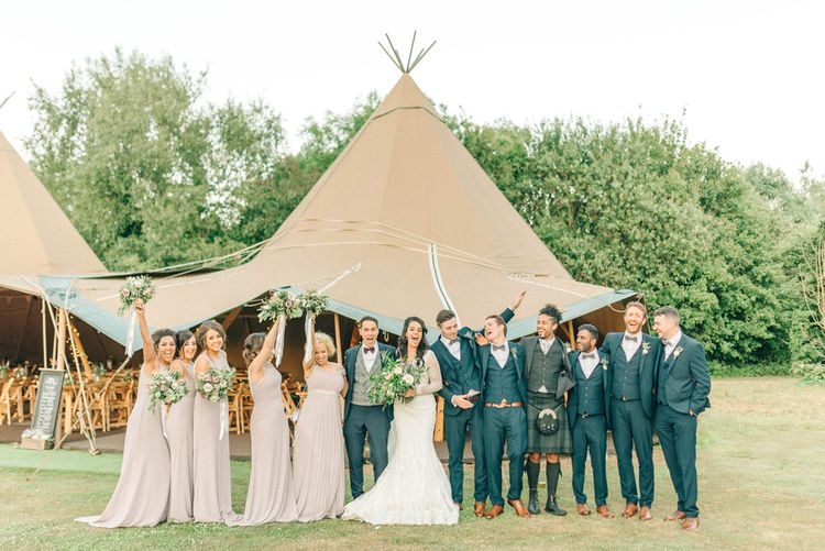 Wedding Party At Rustic Tipi Wedding