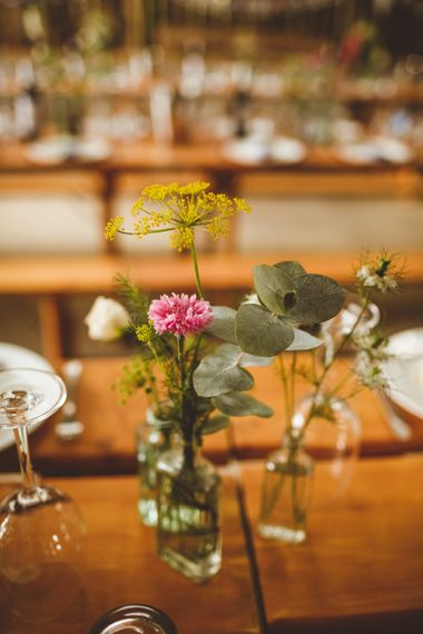 Bud Vase Wedding Decor // Daisy By Halfpenny London For A Boho Barn Wedding In Yorkshire With Decor By Wild At Heart Weddings Images By Photography 34