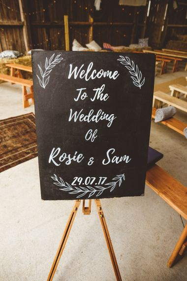 Chalkboard Welcome Sign For Wedding // Daisy By Halfpenny London For A Boho Barn Wedding In Yorkshire With Decor By Wild At Heart Weddings Images By Photography 34