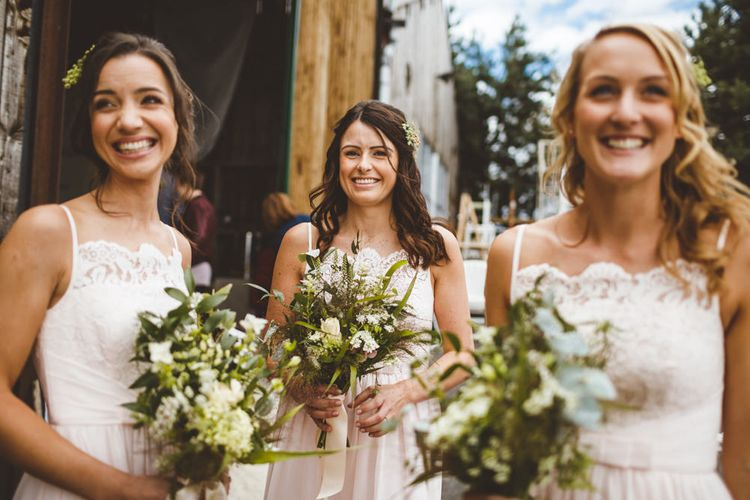 Bridesmaids In Pastel Dresses By Ted Baker // Daisy By Halfpenny London For A Boho Barn Wedding In Yorkshire With Decor By Wild At Heart Weddings Images By Photography 34