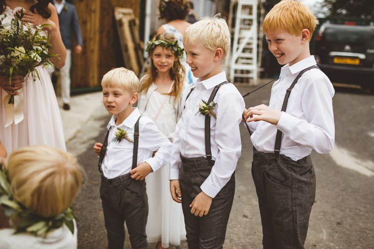 Page Boys In Braces For Wedding // Daisy By Halfpenny London For A Boho Barn Wedding In Yorkshire With Decor By Wild At Heart Weddings Images By Photography 34
