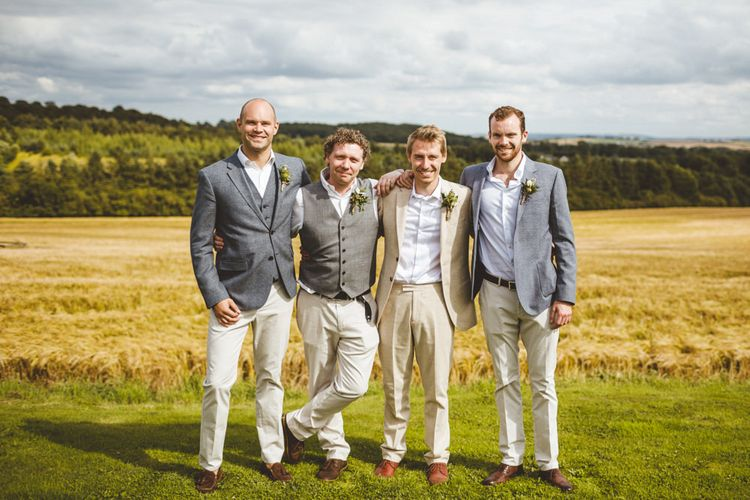 Groom & Groomsmen In Pale Chinos And Grey Textured Jackets By Reiss // Daisy By Halfpenny London For A Boho Barn Wedding In Yorkshire With Decor By Wild At Heart Weddings Images By Photography 34