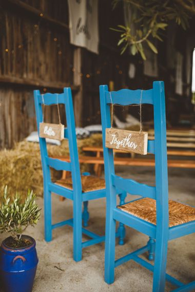 Blue Wooden Chairs For Wedding // Daisy By Halfpenny London For A Boho Barn Wedding In Yorkshire With Decor By Wild At Heart Weddings Images By Photography 34