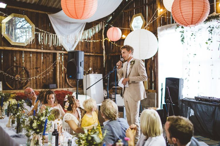 Wedding Speeches // Daisy By Halfpenny London For A Boho Barn Wedding In Yorkshire With Decor By Wild At Heart Weddings Images By Photography 34