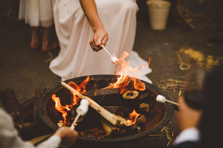 Firepit At Wedding // Daisy By Halfpenny London For A Boho Barn Wedding In Yorkshire With Decor By Wild At Heart Weddings Images By Photography 34