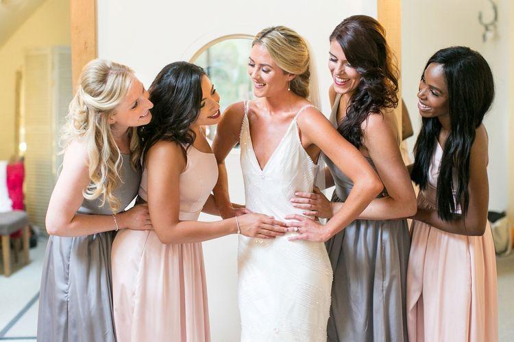 Bride in Anita Massarella Bridal Gown | Bridesmaids in Pastel Pink & Grey Vera Wang Dresses | Anneli Marinovich Photography