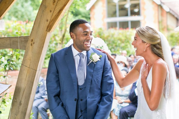 Outdoor Ceremony at Millbridge Court, Surrey | Bride in Anita Massarella Bridal Gown | Groom in Navy Cad and The Dandy Suit | Anneli Marinovich Photography