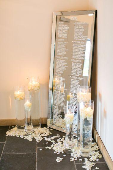Etched Mirror Table Plan & Candles | Millbridge Court, Surrey | Anneli Marinovich Photography