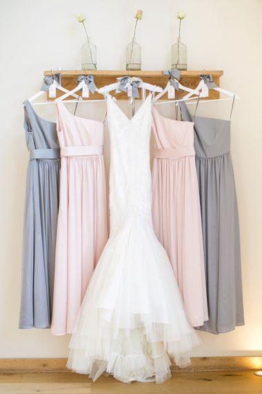 Pastel Pink & Grey Bridesmaid Dresses | Anita Massarella Bridal Gown | Anneli Marinovich Photography