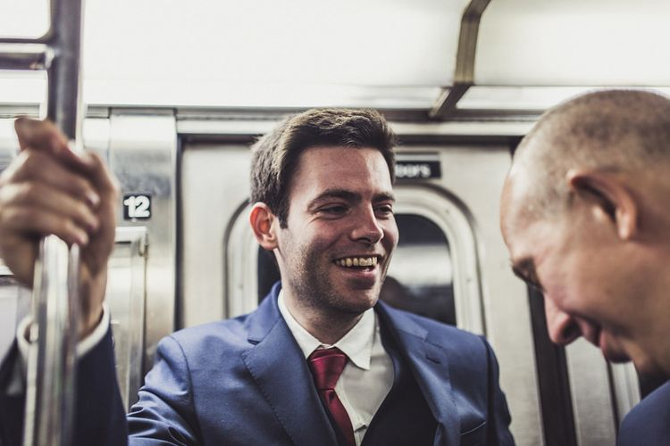 Subway   Groom in T.M. Lewin Suit   Intimate New York Wedding   Claire Penn Photography