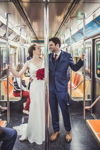 Subway   Bride in Anoushka G. Gown   Groom in T.M. Lewin Suit   Intimate New York Wedding   Claire Penn Photography
