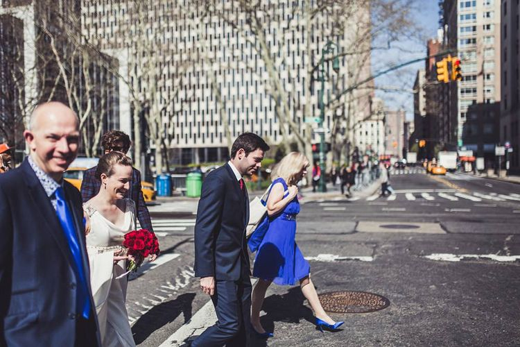Bride in Anoushka G. Gown   Groom in T.M. Lewin Suit   Intimate New York Wedding   Claire Penn Photography