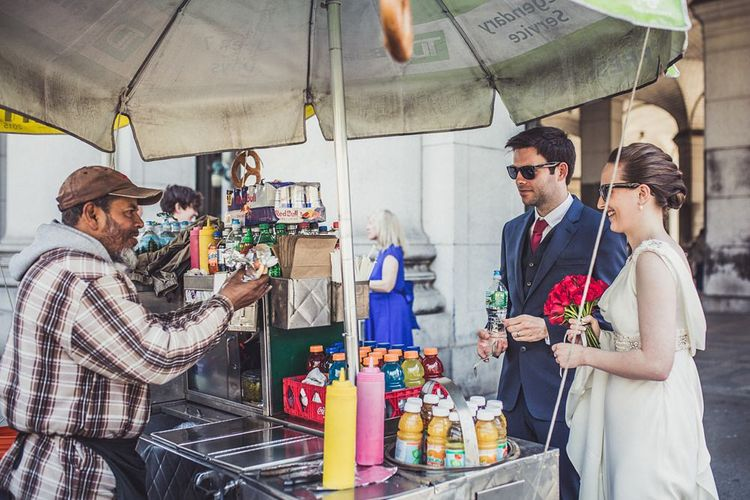 Hot Dog Stand   Bride in Anoushka G. Gown   Groom in T.M. Lewin Suit   Intimate New York Wedding   Claire Penn Photography