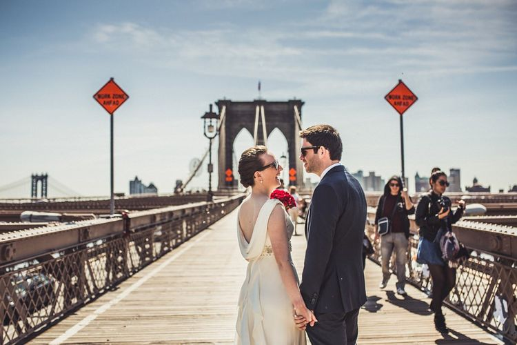 Brooklyn Bridge   Bride in Anoushka G. Gown   Groom in T.M. Lewin Suit   Intimate New York Wedding   Claire Penn Photography