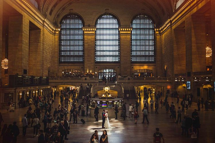 Grand Central Station   Bride in Anoushka G. Gown   Groom in T.M. Lewin Suit   Intimate New York Wedding   Claire Penn Photography