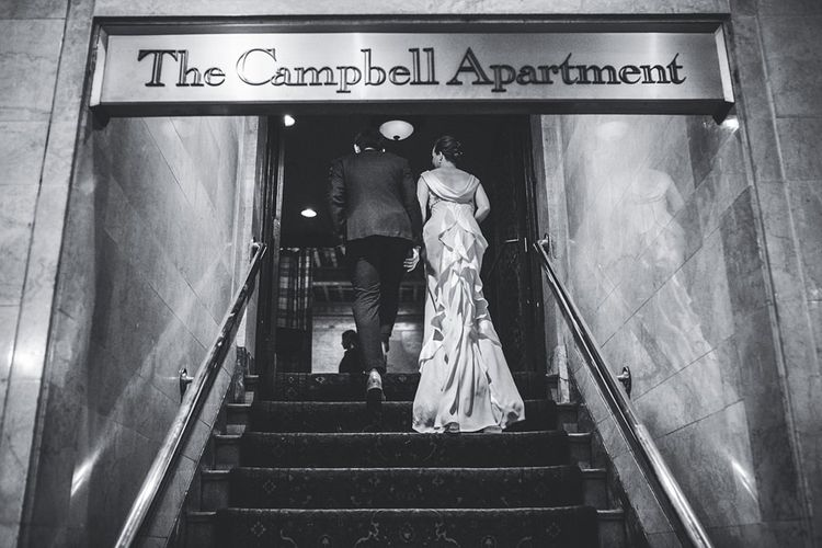 The Campbell Apartment   Bride in Anoushka G. Gown   Groom in T.M. Lewin Suit   Intimate New York Wedding   Claire Penn Photography