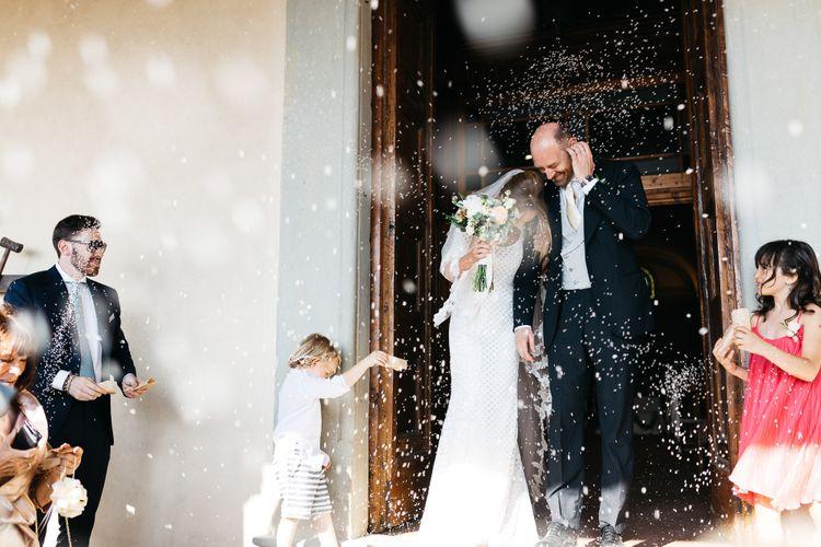 Bride & Groom Church Confetti Exit